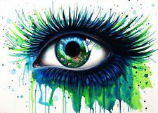PEACOCK EYE WATER COLOUR IMAGE A4 260GSM POSTER PRINT