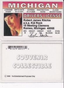 KID-ROCK-Robert-Ritchie-ROMEO-MICHIGAN-MI-Drivers-License-fake-id-card