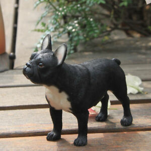 Resin-MINI-French-Bulldog-Hand-Painted-simulation-model-Figurine-Statue-BLACK