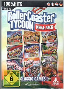 Details about PC DVD Game Rollercoaster Tycoon 1-3 + all Add-Ons Megapack  Win 7/8/10 New