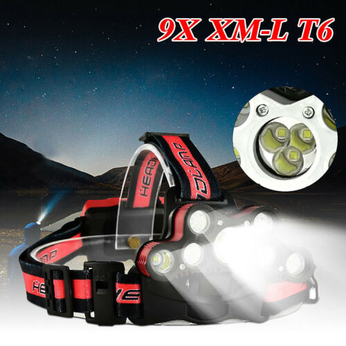 45000 LM 9X T6 LED Rechargeable Headlamp Headlight Travel Head Torch adjustable