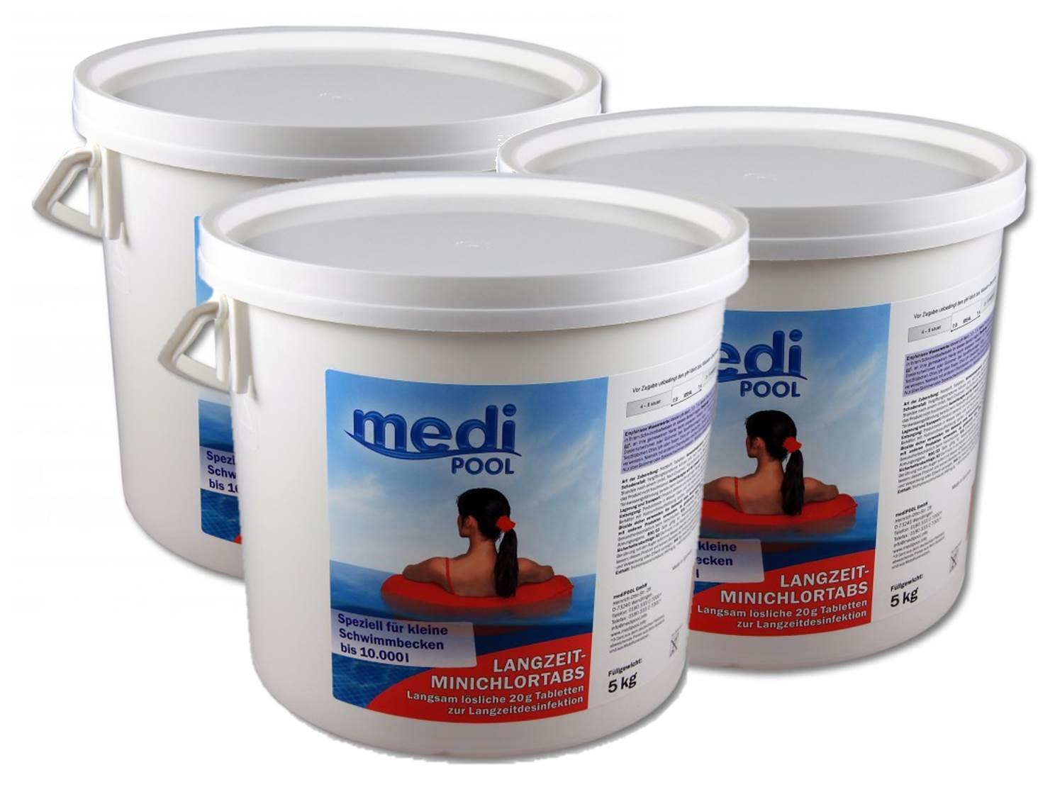 3 x Langzeit MiniChlorTabs 20g, 3 x 5 kg mediPOOL, Chlorlangzeittabletten
