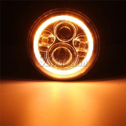 "7/"" Chrome LED Hi//Lo Headlight Halo Ring /& Passing Lights For Harley Road King"