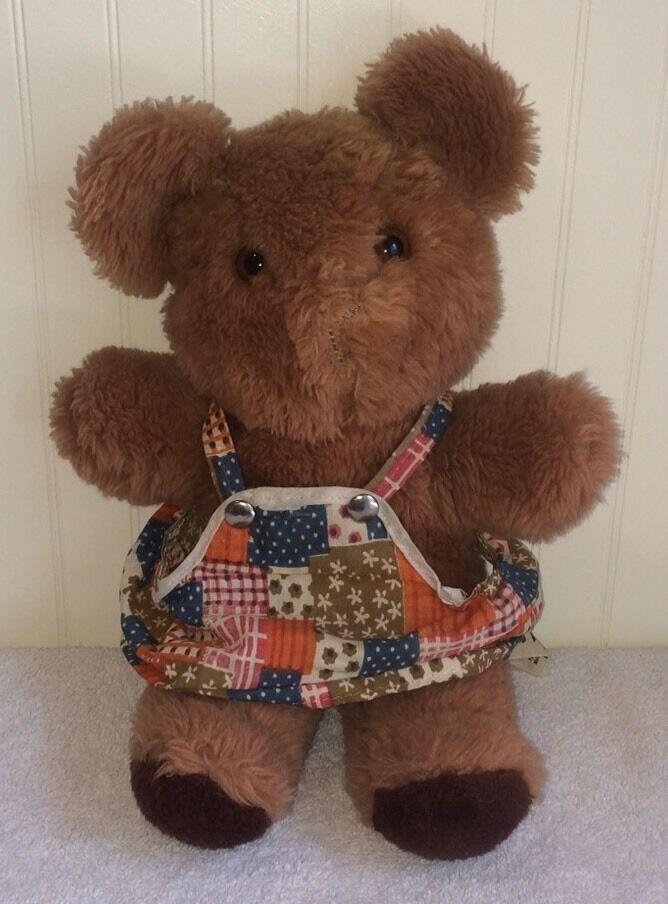 Vtg Mama Teddy Bear Plush Russ Berrie Patchwork Dress Stuffed Toy 14