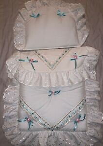 DOLLS-PRAM-BEDDING-SET-MATTRESS-for-Silver-Cross-Pram-Pink-Blossom-Sweet-Pea