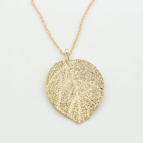Cheap Costume Shiny Jewelry Gold Leaf Design Pendant Necklace Long Sweater UK