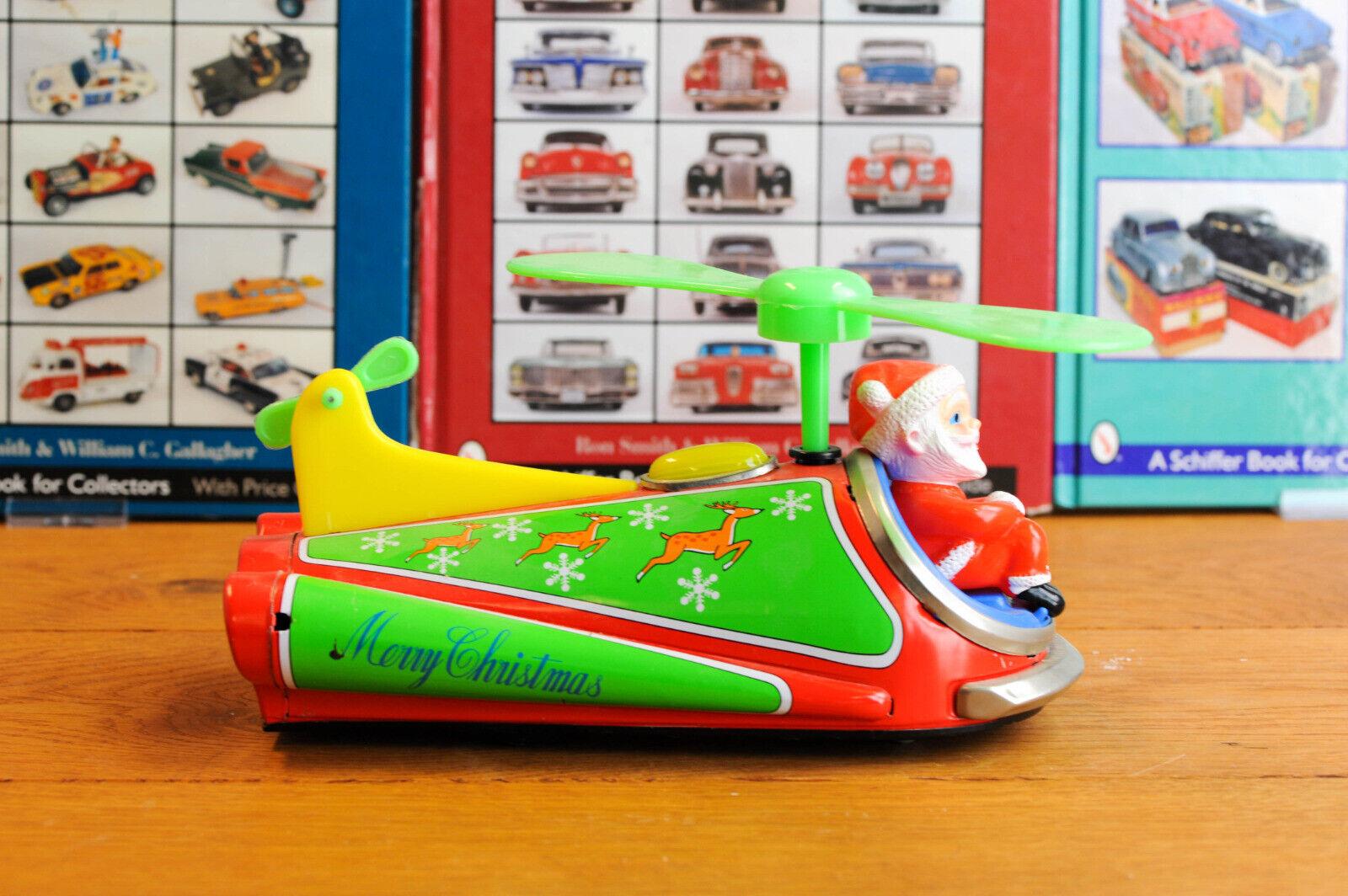 _AntiqueTin leksakMasudaya japan Space Ship Tin leksak Santa Copter lådaed arbetssätt Herregud