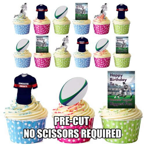 Precut Doncaster Knights Rugby Fan-Anniversaire Comestible Cupcake Toppers Décorations