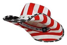 New Men's Vintage US American Flag Stars Western Cowboy Hat Straw America USA