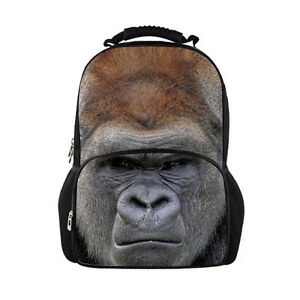 Cool Men Bags Animal Backpack Funny School Bags Gorilla Travel ... 35c772355f85