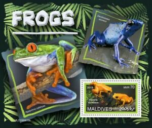 Maldives-2019-Frogs-on-Stamps-Stamp-Souvenir-Sheet-MLD190415b