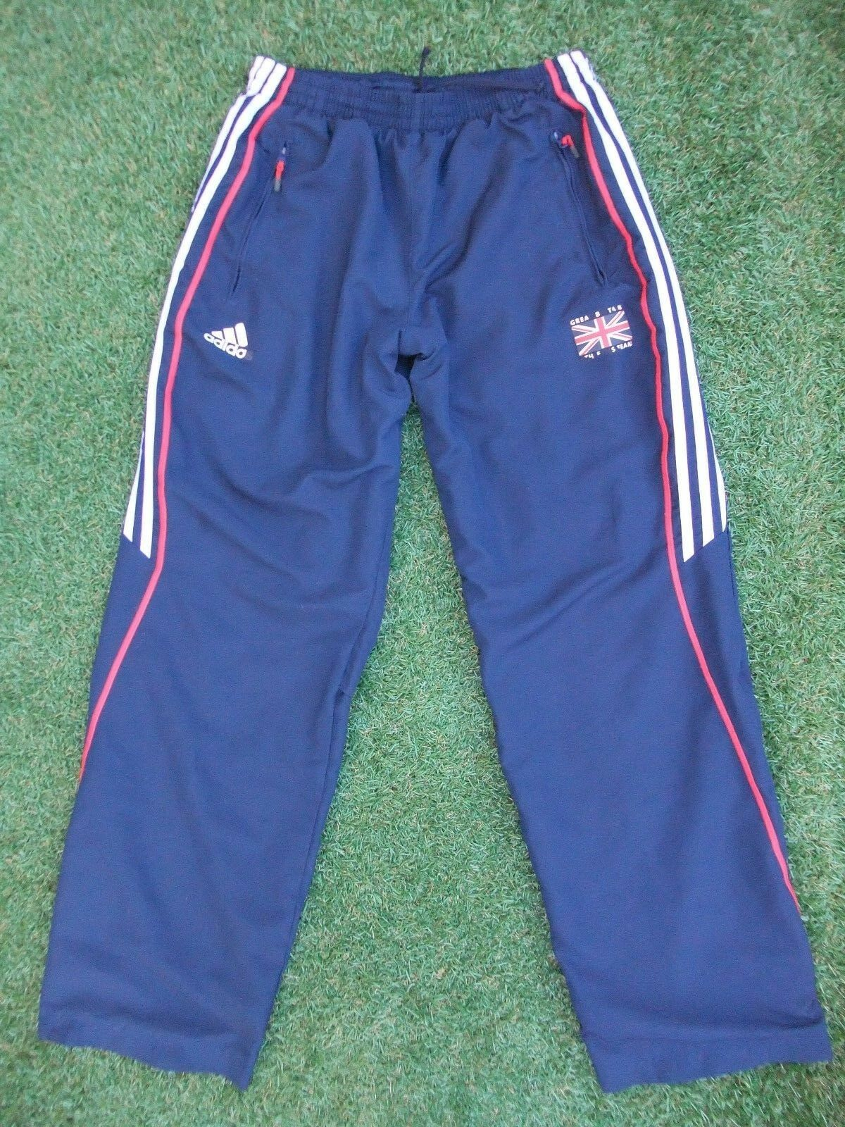 ADIDAS GB GREAT BRITAIN ATHLETIC TEAM ATHLETE ISSUE JOGGING PANTS FIT 26   32