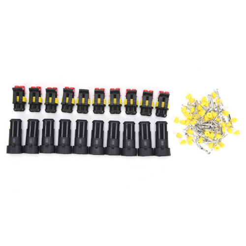 """10 Kits 2 Pin Way Sealed Waterproof Electrical Wire Connector Plug Car Auto""""Sets"""