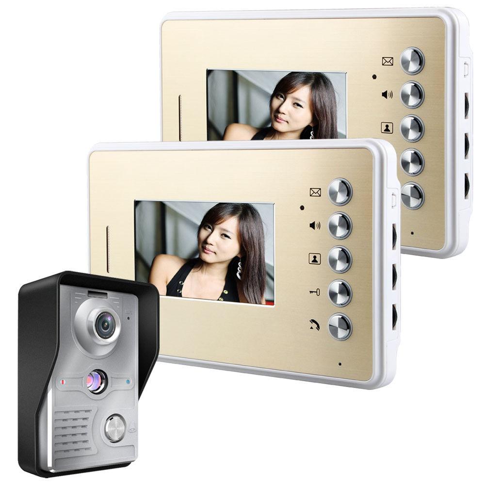 4.3 in (approx. 10.92 cm) Puerta de Video Teléfono Timbre Intercomunicador Kit Cámara Monitor de 2 de 1 de visión nocturna