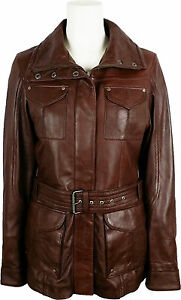 Coat Jacket length Brown Unicorn Leather Classic Mid 7p Womens Real x6wBvR