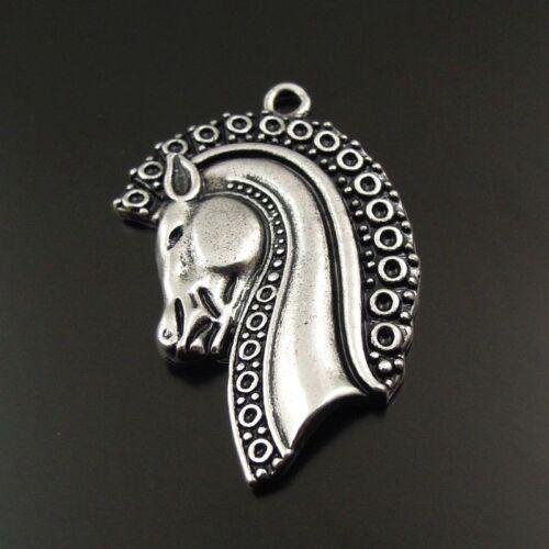 38002 8pcs Argent Antique Alliage Animal Horse Head Charms Pendentifs Collier À faire soi-même