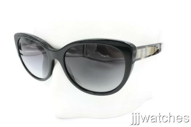 7d4c8039a3d9 New Burberry Women Black Oval Gray Gradient Sunglasses BE4224 30018G 56  215