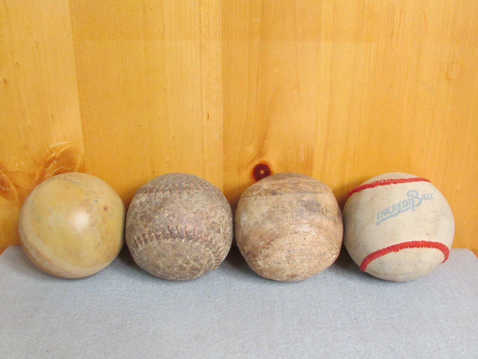 Vintage Group Leder & Anderes Antik Softbälle Bildschirm Group   Baseballs