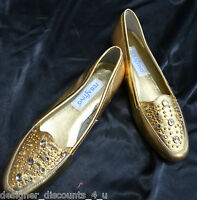 Sebastino GOLD beaded ballet flats oxford flashy LEATHER SHOES  loafers shoe 7 M