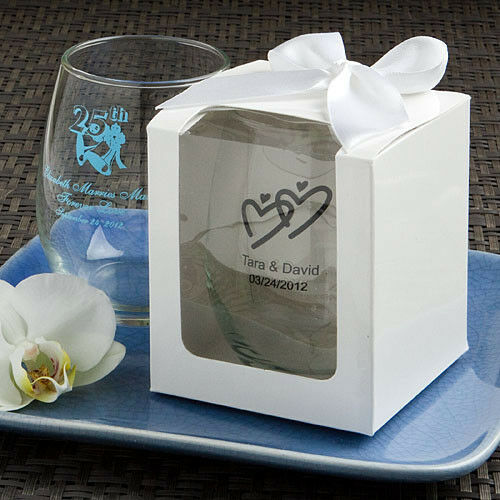 50!WITH BOXES! Personalized 9 Oz. Stemless Wine Glass Wedding For Guests