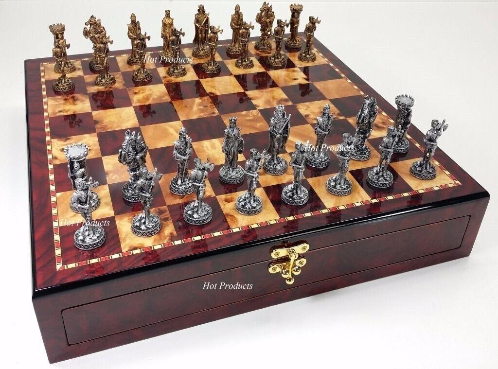 Moyen âge croisades étain  métal Chess Set Gloss cerise couleur de conservation Board  jusqu'à 42% de réduction