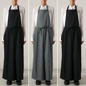 US Women Chefs Cooking Baking Long Apron Cotton Linen Vintage Pinafore Dress