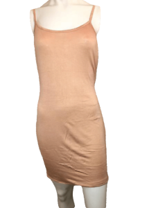 Toto Collection Tan Fitted Spaghetti Strap Slinky Dress Size 2XL (SKU 000201)