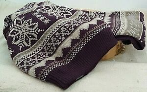 New-Women-039-s-Muk-Luks-Eternity-Hat-and-Scarf-Wine-White-Gray-Reversible