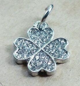1-CZ-Crystal-GOOD-LUCK-Four-Leaf-Clover-Pendant-Charm-fit-European-Bead-Bracelet