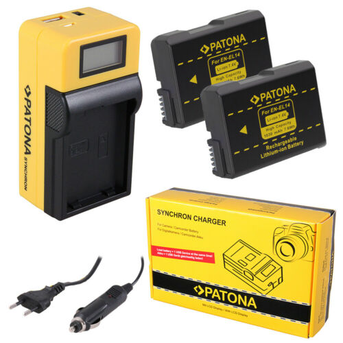 2x Batteria Patona caricabatteria Synchron LCD USB per Nikon D5600,Df