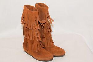 Minnetonka Women's Camel Suede 3 Triple Fringe Layer Boots MINT 6