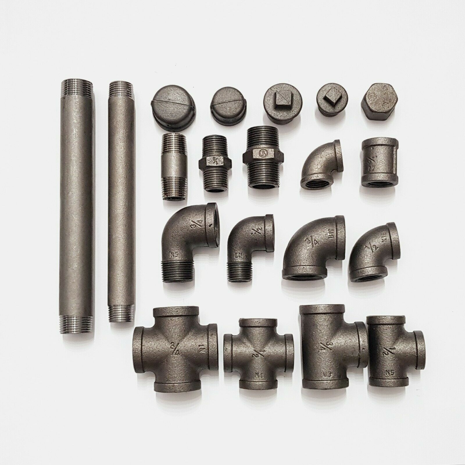 BLACK MALLEABLE CAST IRON PIPE FITTINGS BSP &STEEL PIPES 1/2