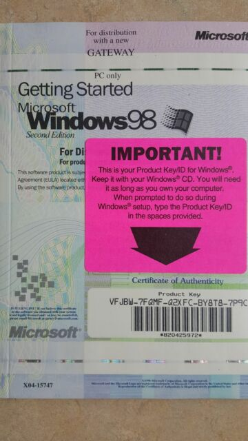 windows 98 2nd edition product key