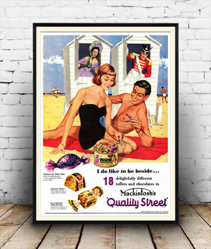 Vintage chocolate advert poster reproduction. Quality street