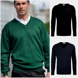 MENS-ACRYLIC-KNITTED-V-NECK-JUMPER-PULLOVER-UNIFORM-OFFICE-WORKWEAR-SWEATER