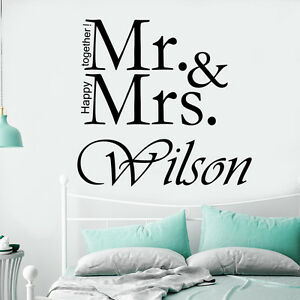 Image Is Loading Family Name Wall Decal Mr And Mrs Decal