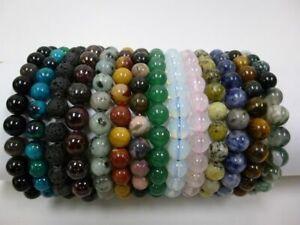 8mm-round-Semi-Precious-Stone-stretch-bracelet-unisex-chunky-boho-heal-protect