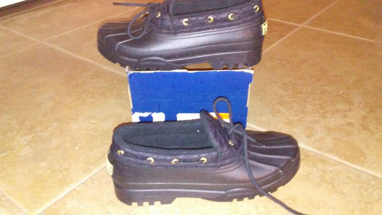 NEW  Womens Sperry Duckling Black Rain Shoes, size 9  waterproof rubber