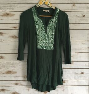 LOGO-by-Lori-Goldstein-Women-039-s-S-Green-Knit-V-Neck-w-Sequin-Detail-Top-Sz-Small