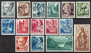 RHEINLAND-PFALZ-GERMANY-FRENCH-ZONE-Mi-1-15-mint-MNH-stamp-set-CV-5-50