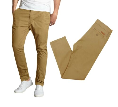 Mens Stretch Chino Pants Jeans Casual Cotton Trousers Pockets Fly Comfort Lounge