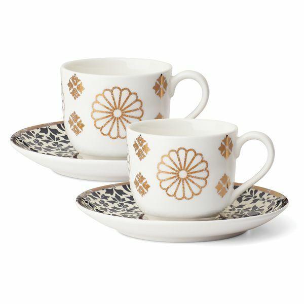 Lenox Global Tapestry Saphir 12-Pièce Espresso Tasse et soucoupe Set