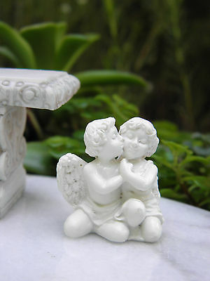 "Miniature Dollhouse FAIRY GARDEN Accessories ~ Antiqued 1/"" Cherub Angel Couple"