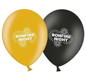 Bonfire-Night-Fireworks-12-034-Black-amp-Gold-Assorted-Latex-Balloons-pack-of-5