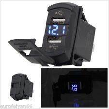 DC12V Car Boat Panel Lighter Power Socket Digital Voltmeter Dual USB Charger Kit