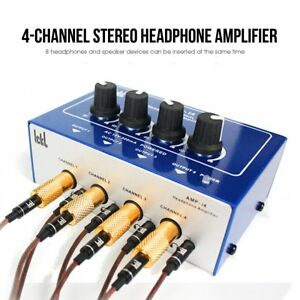 Professional-Mini-4-Channel-Earphone-Headphone-Audio-Stereo-Amp-Amplifier-Mixer