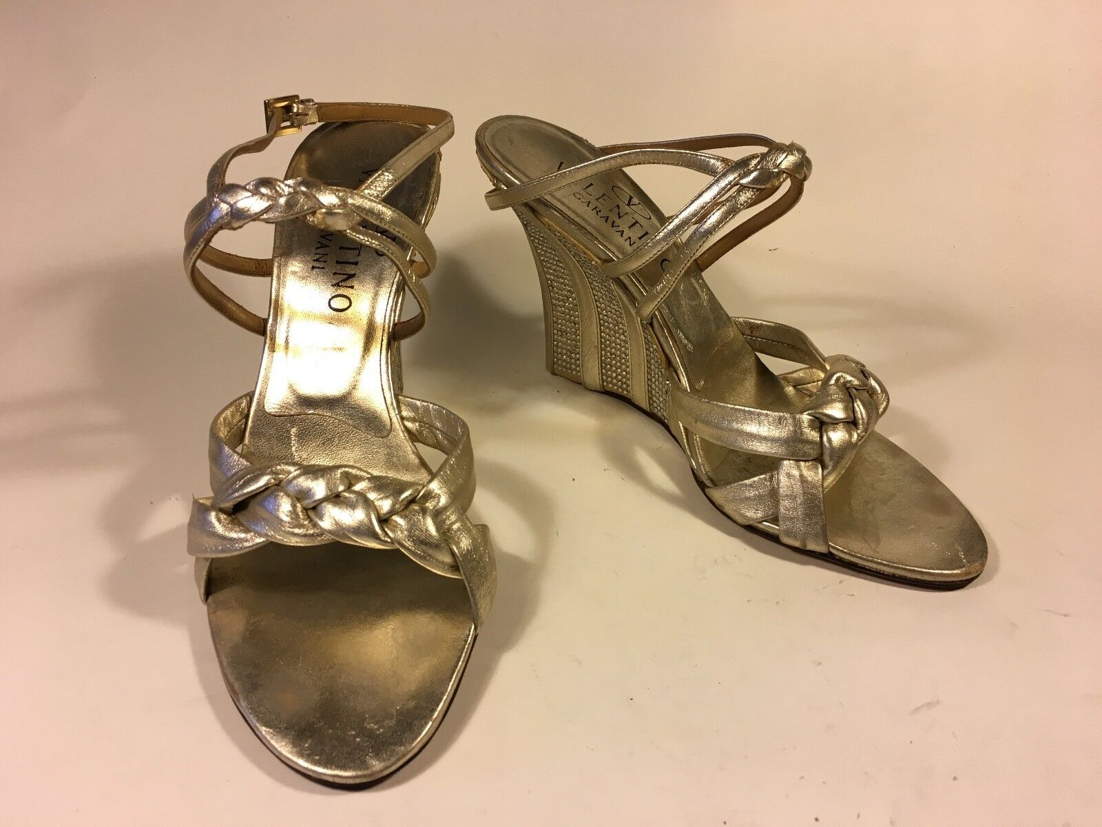 Valentino, wedge wedge wedge woven Silber leather with crystal striped heel detail 23 c5b694