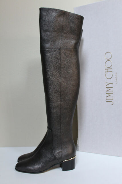 d4c237d14a1 New sz 7.5   37.5 Jimmy Choo Harmony Metallic Brown Over the Knee Heel Boot  Shoe