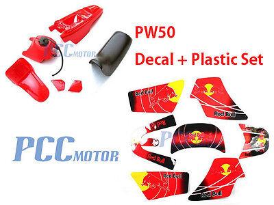 3M RED GRAPHICS DECAL PLASTIC SEAT KIT YAMAHA PW50 PW M DE63+