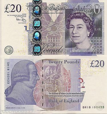 ENGLAND 20 Pounds Banknote World Currency Money Europe p392c Note BILL Queen
